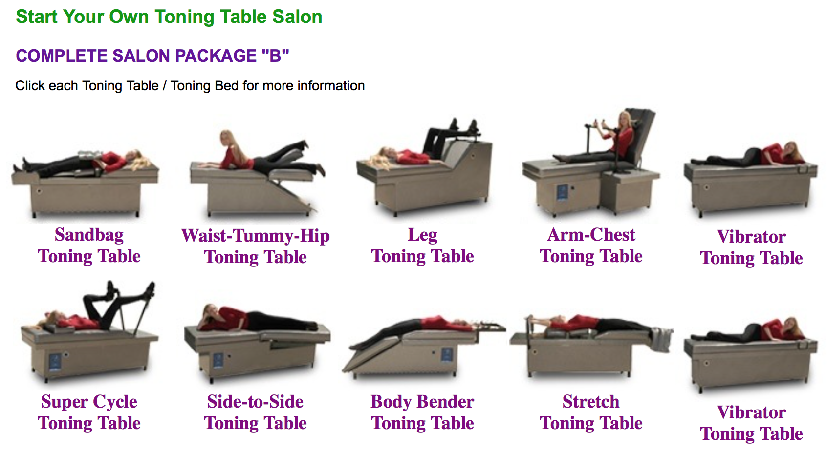 Toning Tables, Toning Beds